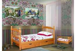 Детская точеная одноярусная кровать с ящиками