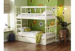 Кровать 2-х ярусная с фигурными спинками массив сосны