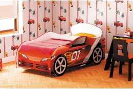 Кровать машина красная с пламенем Омега-12