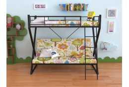 Металлическая двухъярусная кровать с диваном Гредос
