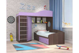 Кровать чердак Кадет-2 с металлической лестницей