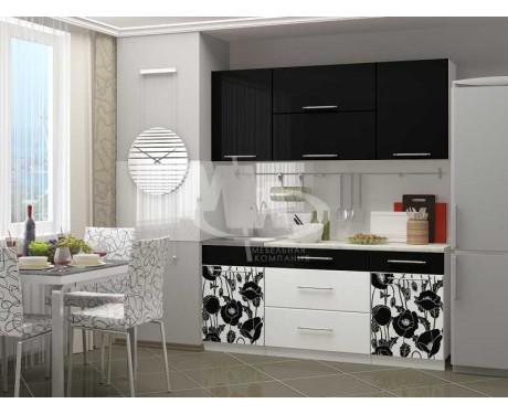 Кухня Маки black 1800 мм фотопечать