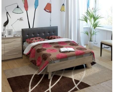 Кровать (1200*1900) №17 + спинка СМ №13 (белый, черный)