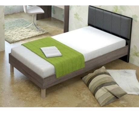 Кровать (900*1900) №84.1 + спинка СМ №12 (эвкалипт, белый, черный)